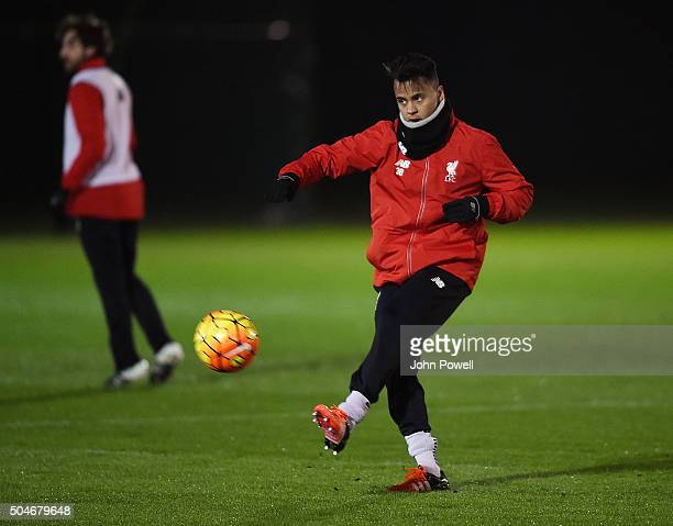 Allan Rodrigues de Souza of Liverpool in action during a training session at Melwood Training Ground on January 12 2016 in Liverpool England