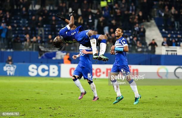 Allan Saint Maximin of Bastia celebrate his goal during the French Ligue 1 match between Bastia and Metz at Stade Armand Cesari on December 10 2016...