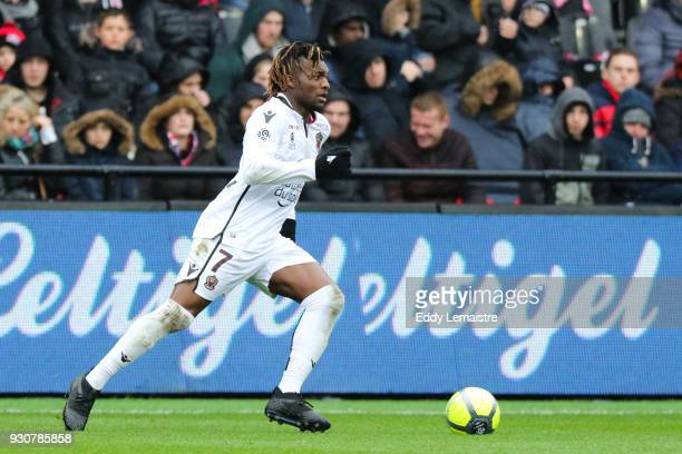 Allan Saint Maximin of Nice during the Ligue 1 match between EA Guingamp and OGC Nice at Stade du Roudourou on March 11 2018 in Guingamp