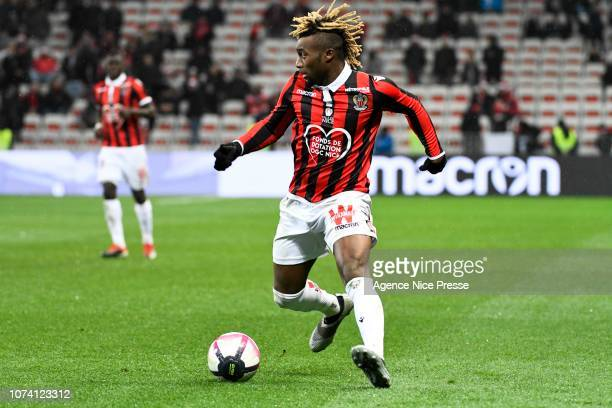 Allan Saint Maximin of Nice during the Ligue 1 match between Nice and Saint Etienne at Allianz Riviera on December 16 2018 in Nice France