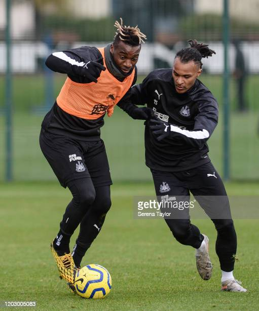 Allan Saint-Maximin and Valentino Lazaro jostle for the ball during the Newcastle United Training Session at the Newcastle United Training Centre on...
