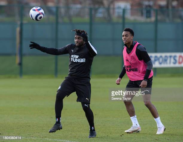 Allan Saint-Maximin controls the ball whilst Joe Willock stands behind during the Newcastle United Training session at the Newcastle United Training...