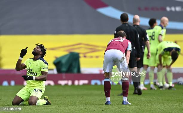Allan Saint-Maximin of Newcastle celebrates at the end of the Premier League match between Burnley and Newcastle United at Turf Moor on April 11,...