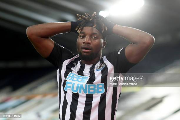 Allan Saint-Maximin of Newcastle looks dejected during the Premier League match between Newcastle United and Manchester United at St. James Park on...