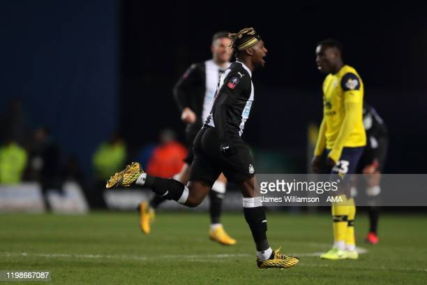 Allan Saint-Maximin of Newcastle United celebrates after scoring a goal to make it 2-3 during the FA Cup Fourth Round Replay match between Oxford...