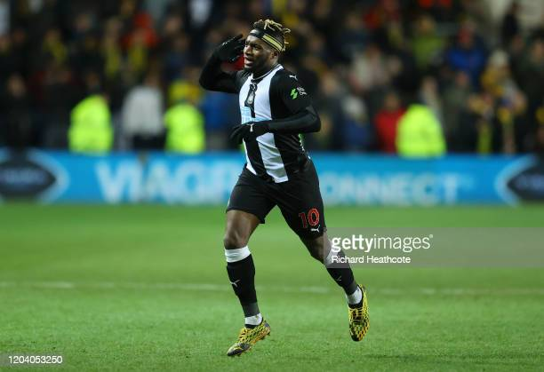 Allan Saint-Maximin of Newcastle United celebrates after scoring his team's third goal during the FA Cup Fourth Round Replay match between Oxford...