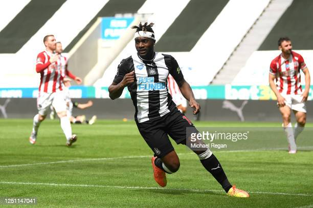 Allan Saint-Maximin of Newcastle United celebrates after scoring his sides first goal during the Premier League match between Newcastle United and...