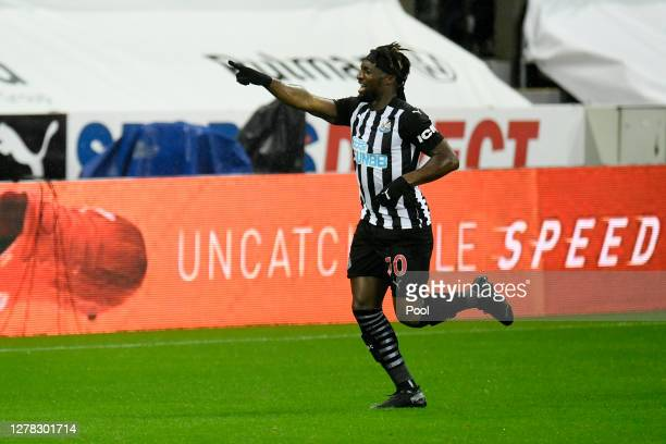 Allan Saint-Maximin of Newcastle United celebrates after scoring his team's first goal during the Premier League match between Newcastle United and...