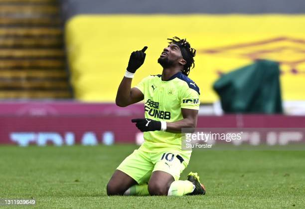 Allan Saint-Maximin of Newcastle United celebrates victory after the Premier League match between Burnley and Newcastle United at Turf Moor on April...