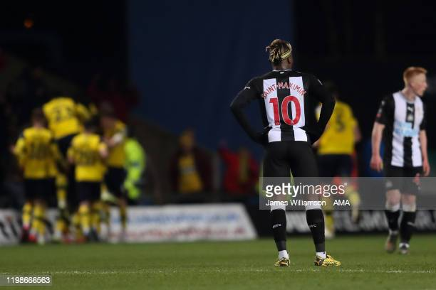Allan Saint-Maximin of Newcastle United dejected after Nathan Holland of Oxford United scored a goal to make it 2-2 during the FA Cup Fourth Round...