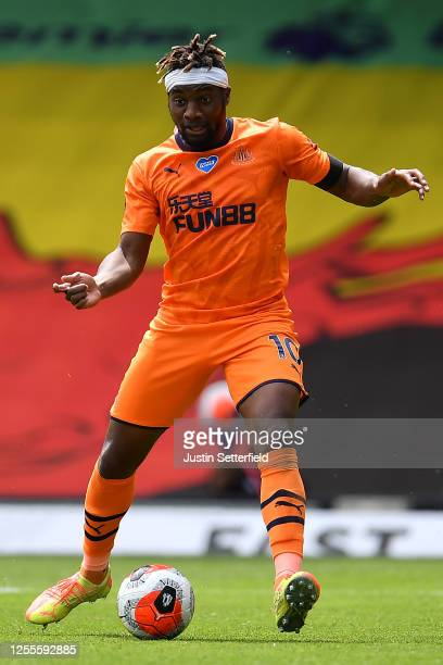 Allan SaintMaximin of Newcastle United during the Premier League match between Watford FC and Newcastle United at Vicarage Road on July 11 2020 in...