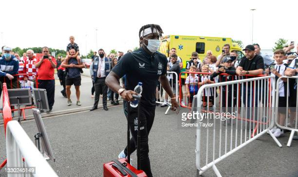 Allan Saint-Maximin of Newcastle United FC arrives for the Pre Season Friendly between Doncaster Rovers and Newcastle United at the Keepmoat Stadium...