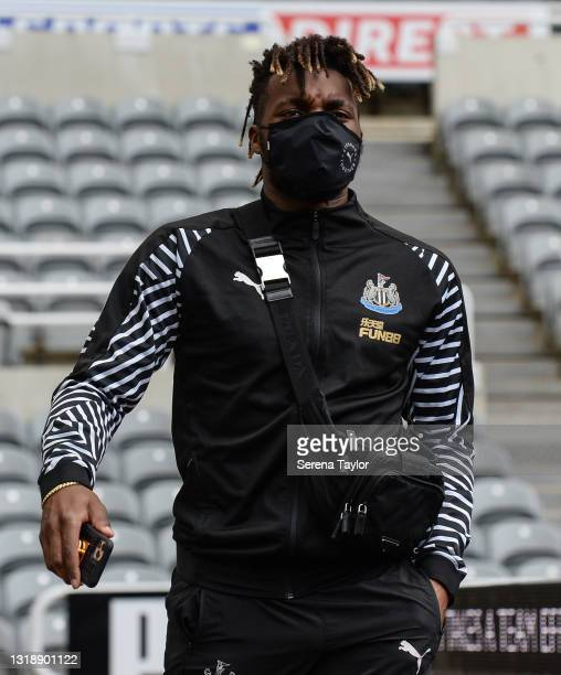 Allan Saint-Maximin of Newcastle United FC arrives for the Premier League match between Newcastle United and Sheffield United at St. James Park on...