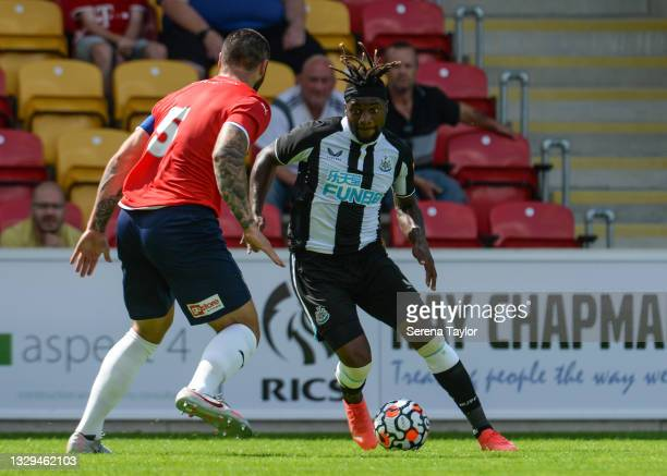 Allan Saint-Maximin of Newcastle United FC controls the ball during the Pre Season Friendly between York City and Newcastle United at the LNER...