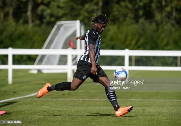 Allan SaintMaximin of Newcastle United FC kicks the ball back to the centre circle after scoring during the Pre Season Friendly between Newcastle...