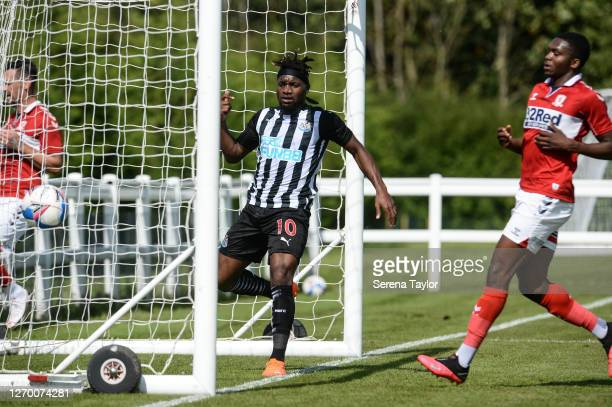 Allan SaintMaximin of Newcastle United FC scores past Middlesbrough Goalkeeper during the Pre Season Friendly between Newcastle United and...