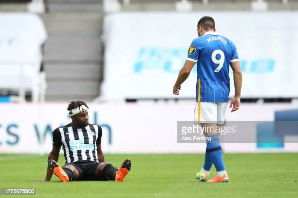 Allan SaintMaximin of Newcastle United goes down injured during the Premier League match between Newcastle United and Brighton Hove Albion at St...