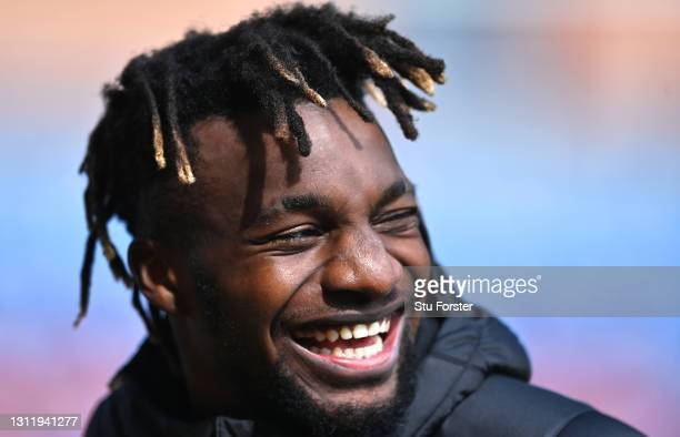 Allan Saint-Maximin of Newcastle United reacts during a TV Interview after the Premier League match between Burnley and Newcastle United at Turf Moor...