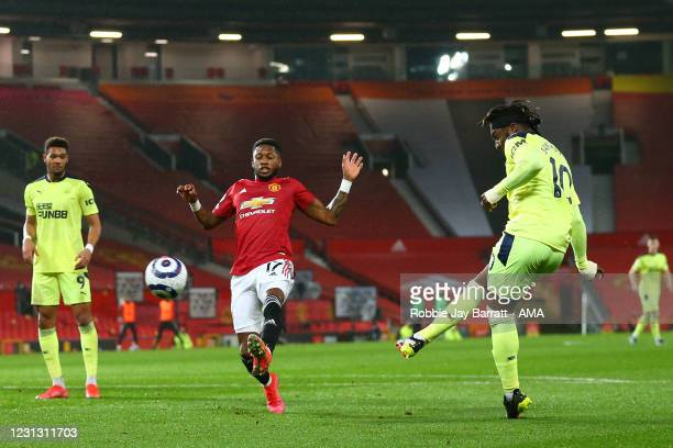 Allan Saint-Maximin of Newcastle United scores a goal to make it 1-1 during the Premier League match between Manchester United and Newcastle United...