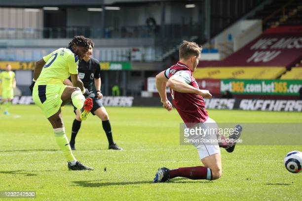 Allan Saint-Maximin of Newcastle United scores their 2nd goal during the Premier League match between Burnley and Newcastle United at Turf Moor on...