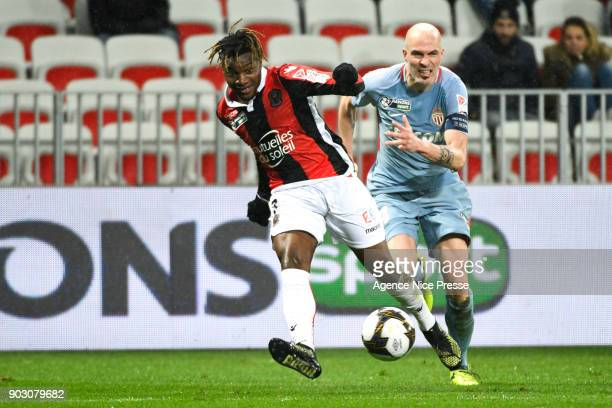 Allan SaintMaximin of Nice and Andrea Raggi of Monaco during the League Cup match between Nice and Monaco at Allianz Riviera Stadium on January 9...