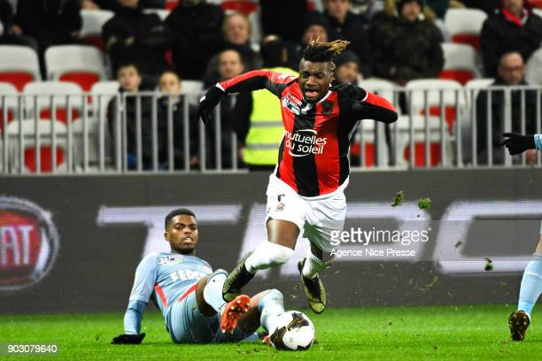 Allan SaintMaximin of Nice and Jemerson of Monaco during the League Cup match between Nice and Monaco at Allianz Riviera Stadium on January 9 2018 in...
