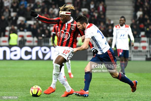 Allan SaintMaximin of Nice and Leo Dubois of Lyon during the Ligue 1 match between Nice and Lyon at Allianz Riviera on February 10 2019 in Nice France