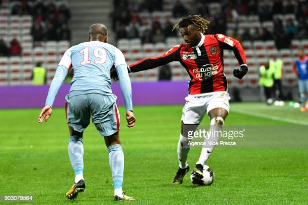 Allan SaintMaximin of Nice during the League Cup match between Nice and Monaco at Allianz Riviera Stadium on January 9 2018 in Nice France