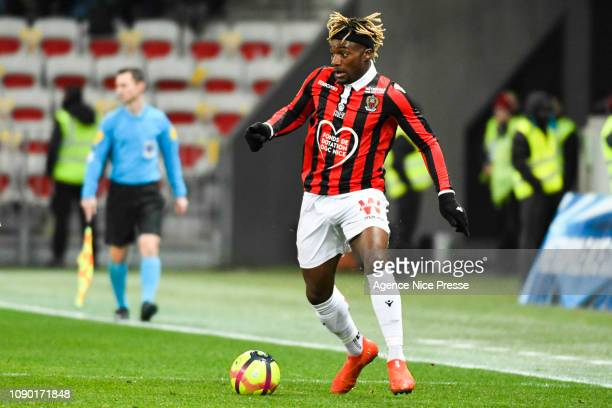 Allan SaintMaximin of Nice during the Ligue 1 match between Nice and Nimes at Allianz Riviera on January 26 2019 in Nice France