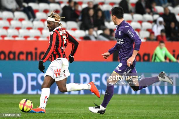 Allan SaintMaximin of Nice during the Ligue 1 match between Nice and Toulouse at Allianz Riviera Stadium on March 15 2019 in Nice France