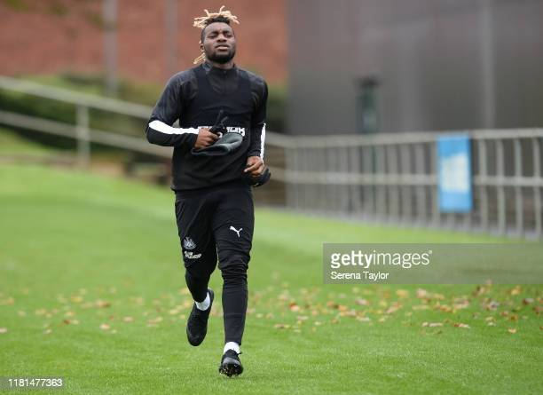 Allan SaintMaximin runs out to training during the Newcastle United Training Session at the Newcastle United Training Centre on October 16 2019 in...