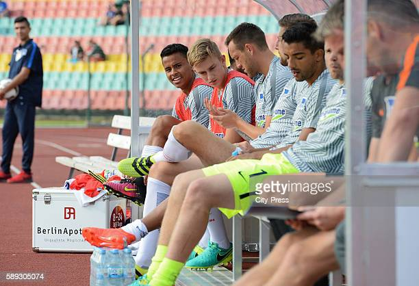 Allan Sinan Kurt and Sebastian Langkamp of Hertha BSC on the bench during the test match between Hertha BSC and SSC Neapel on august 13 2016 in...