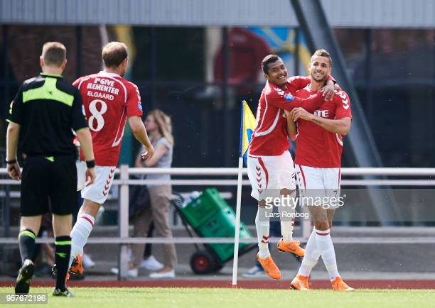 Allan Sousa and Imed Louati of Vejle Boldklub celebrate after scoring their second goal during the Danish NordicBet Liga match between Skive IF and...