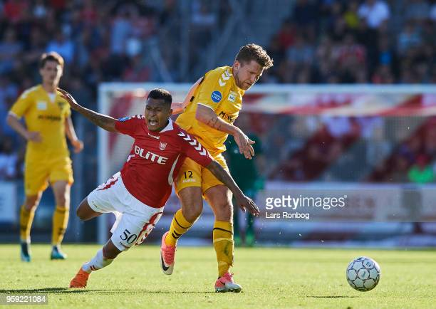 Allan Sousa of Vejle Boldklub and Denis Fazlagic of FC Fredericia compete for the ball during the Danish NordicBet Liga match between Vejle Boldklub...