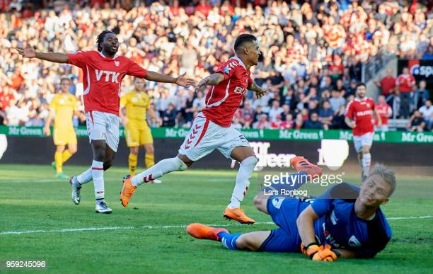 Allan Sousa of Vejle Boldklub and Peter Utaka of Vejle Boldklub celebrate after scoring their first goal during the Danish NordicBet Liga match...