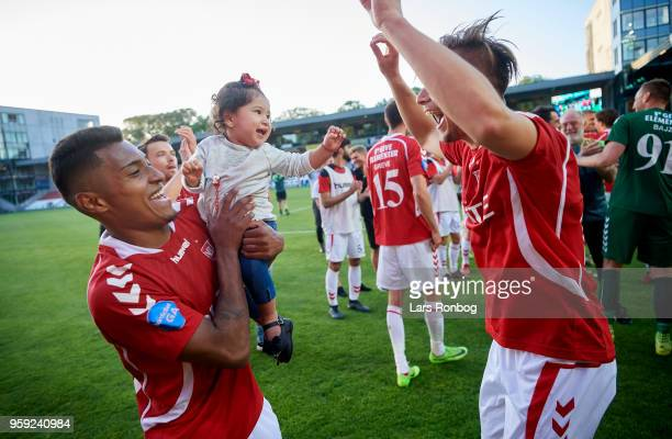 Allan Sousa of Vejle Boldklub and Ylber Ramadani of Vejle Boldklub celebrate after the Danish NordicBet Liga match between Vejle Boldklub and FC...