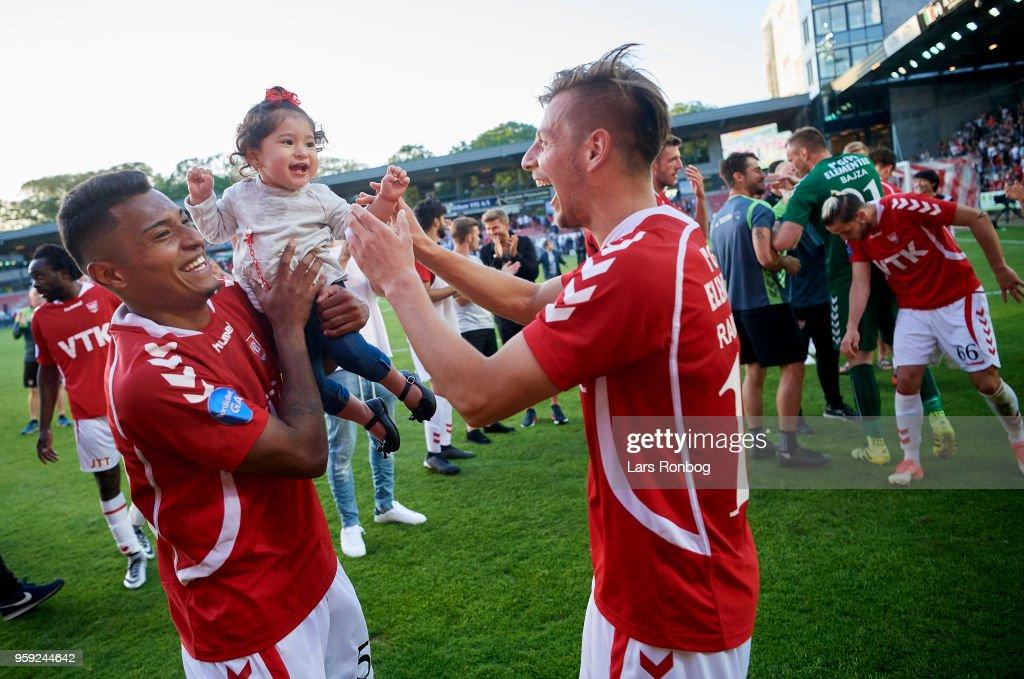 Allan Sousa of Vejle Boldklub and Ylber Ramadani of Vejle Boldklub celebrate after the Danish NordicBet Liga match between Vejle Boldklub and FC Fredericia at Vejle Stadion on May 16, 2018 in Vejle, Denmark.