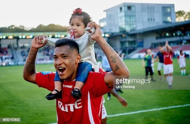 Allan Sousa of Vejle Boldklub celebrate with his daughter after the Danish NordicBet Liga match between Vejle Boldklub and FC Fredericia at Vejle...