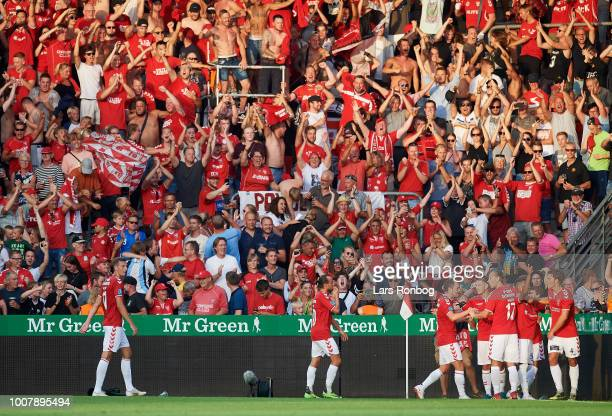 Allan Sousa of Vejle Boldklub celebrates after scoring their first goal during the Danish Superliga match between Vejle Boldklub and AGF Aarhus at...