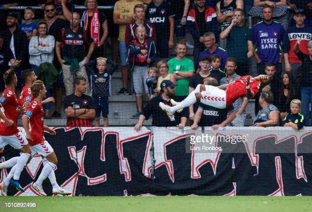 Allan Sousa of Vejle Boldklub celebrates after scoring their first goal during the Danish Superliga match between Vejle Boldklub and FC Midtjylland...
