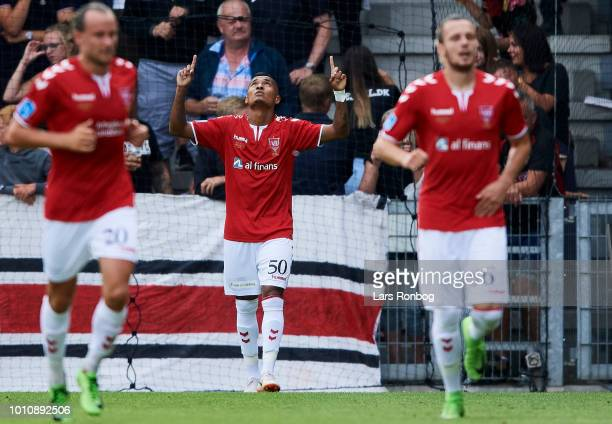Allan Sousa of Vejle Boldklub celebrates after scoring their first goal during the Danish Superliga match between Vejle Boldklub and FC Midtjylland...