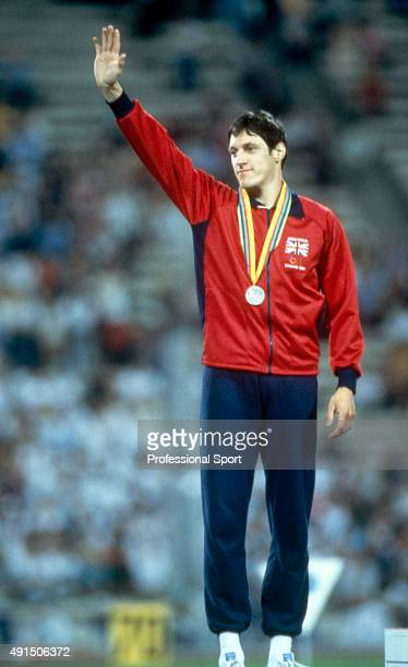 Allan Wells of Great Britain after receiving the gold medal for winning the mens 100 metres final during the Summer Olympic Games in Moscow circa...