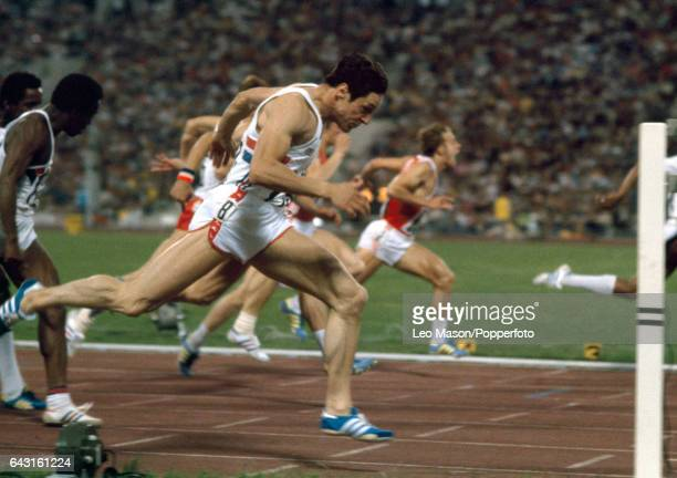 Allan Wells of Great Britain enroute to winning the final of the men's 100 metres event during the Summer Olympic Games in Moscow on 25th July 1980