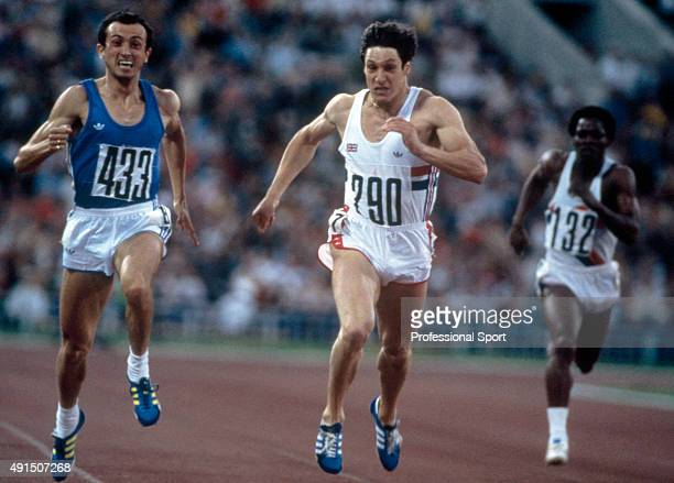 Allan Wells of Great Britain placing second to Pietro Mennea of Italy in the the mens 200 metres final during the Summer Olympic Games in Moscow...