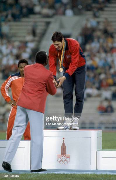 Allan Wells of Great Britain receives the gold medal for the men's 100 metres event during the Summer Olympic Games in Moscow on 25th July 1980 The...