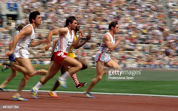 Allan Wells of Great Britain running in a men's 100 metres heat during the Summer Olympic Games in Moscow circa July 1980 Wells won the gold medal in...