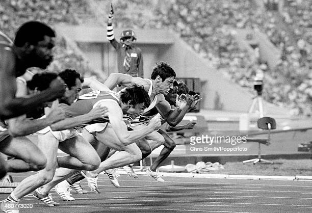 Allan Wells of Great Britain takes off from the starting block en route to winning the men's 100 metres event during the Summer Olympic Games in...