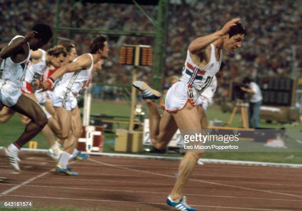 Allan Wells of Great Britain wins the final of the men's 100 metres event during the Summer Olympic Games in Moscow on 25th July 1980