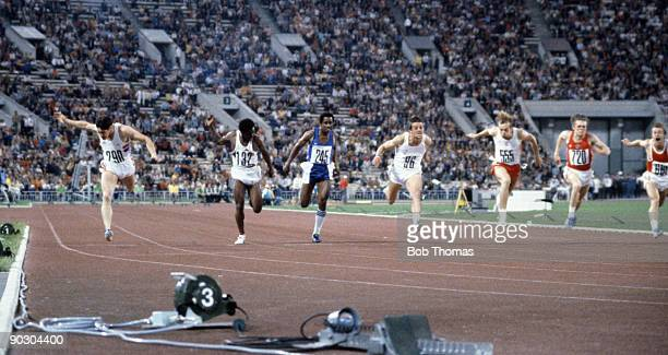 Allan Wells of Great Britain wins the gold medal in the men's 100m at the 22nd Olympic Games held in Moscow USSR in July 1980