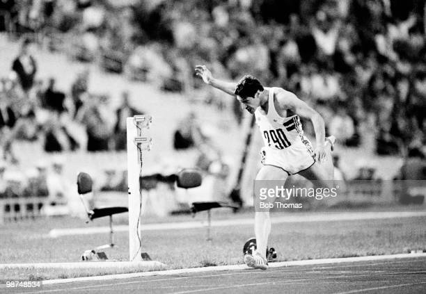 Allan Wells of Great Britain wins the mens 100 metres final at the Olympic Games in Moscow 25th July 1980